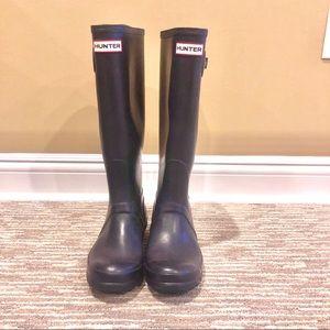 Hunter knee high rain boots dark purple
